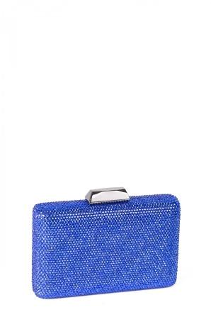 Embellished blue clutch