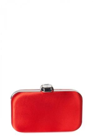 Red satin clutch