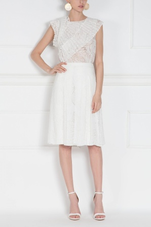 White skirt with pleated cotton