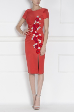 Embroidered red midi dress