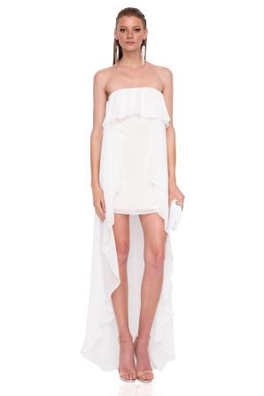 Evening Dress with asymmetric ruffle