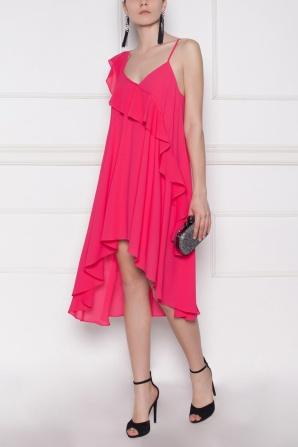 Ruffled asymmetrical fuchsia dress