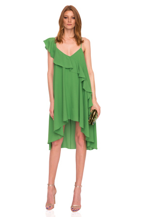 Ruffled asymmetrical green dress
