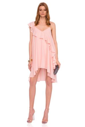 Ruffled asymmetrical pink dress