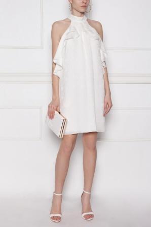 Evening silk dress with ruffle