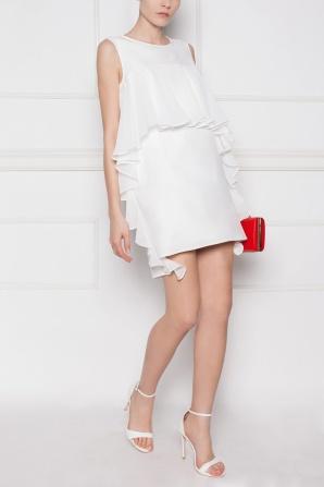 Ruffled-side white dress