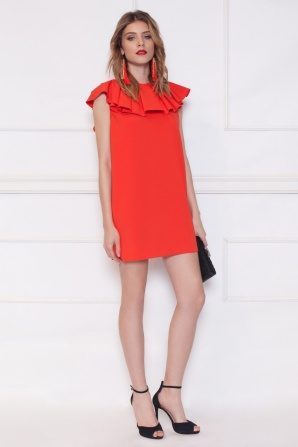 Open back red dress with frill detail