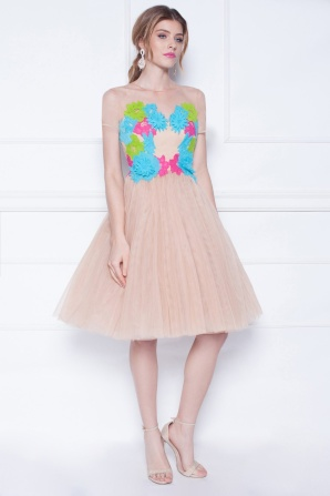 Embroidered multicolered tulle dress