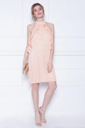 Ruffled mini silk dress