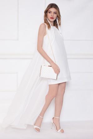 Mini white dress with train detail