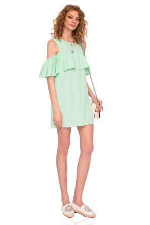 Cutout ruffled mini green dress