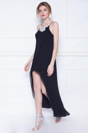 Embroidered silk asymmetrical black dress