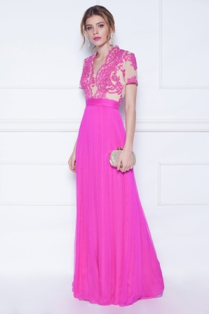 Maxi silk dress with lace detail