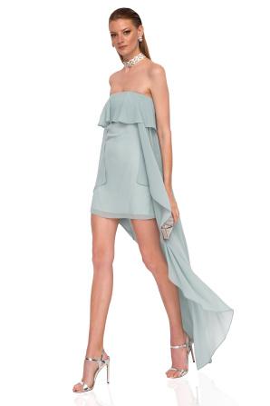 Ruffled mini dress with train
