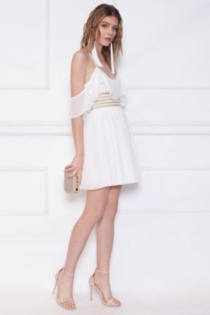 Ruffled white mini dress