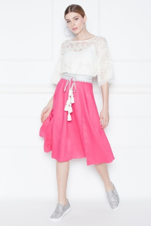 Pleated fuchsia midi skirt
