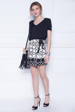 Geometric mini print skirt