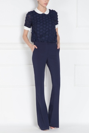 Navy shirt with 3D flower inserts