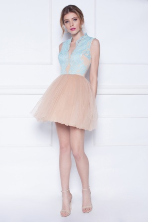 Tulle dress with lace top