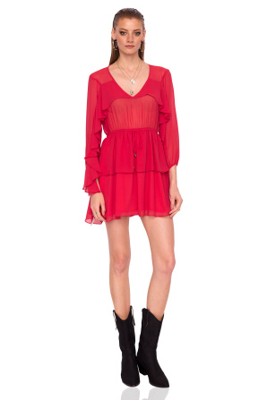 Ruffled red mini dress