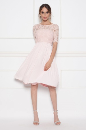 Midi dress with lace top