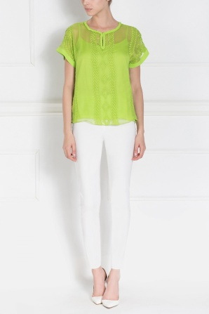 Embroidered short sleeve green top