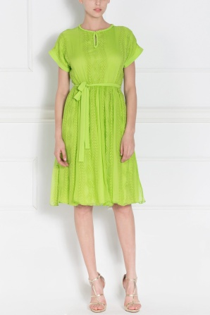 Embroidered green dress
