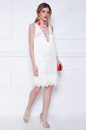 White fringes evening dress