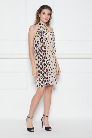 Ruffled animal print mini dress