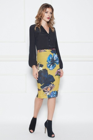 Pencil skirt with floral print