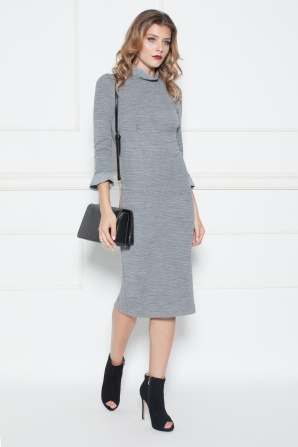 Textured dress with flared sleeves