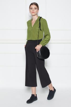 Silk khaki shirt with buttons