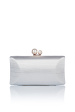 Clutch satinat decorat cu perle