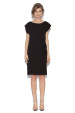Straight black day dress with lateral fold