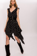 Viscose asymmetrical polka dots dress