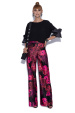 Flared trousers in floral print