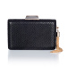 Black clutch with metallic tassel