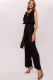 Jumpsuit with ruffle details and waist belt