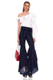 Denim trousers with ruffles