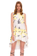 Asymmetric dress with ruffle and flower print