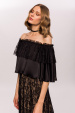 Off shoulders top with ruffles and lace