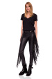 Slim eco leather trousers with side fringes