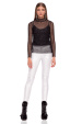 Natural leather slim pants