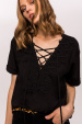 Viscose top with embellished neckline