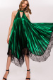 Asymmetrical green metallic dress with lace