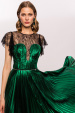Green glossy dress with lace insertion and pearls