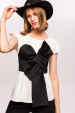 Bra over shirt and bow detail top