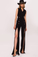 Front slit jumpsuit with golden buttons and V neckline