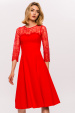 Lace 3/4 sleeves A-line dress