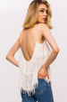 Viscose open back fringes top